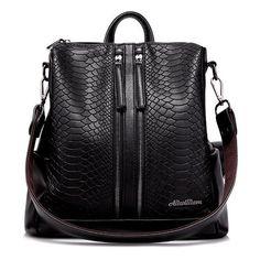 Snake Embossed Multi Zips Backpack ($30) ❤ liked on Polyvore featuring bags, backpacks, knapsack bag, backpack bags, daypack bag, day pack backpack and rucksack bags