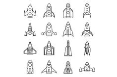 Rocket icons set, outline style. Objects. $5.00