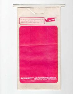"Braniff International Air/Motion Sickness Bag (10"") - Gate 72 Motion Sickness, Love Sick, Aviation, Bags, Colors, Accessories, Handbags, Taschen, Purse"