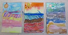 ♥ watercolor landscapes by second graders.