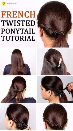 Here is a great Hair Tutorials on how you can have fun with your ponytail and give it a French twist. #HairTutorials