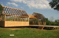This is an excellent example of a simple dogtrot house which is essentially a small home split into to halves that are separated by a breezeway. Dog Trot House Plans, Tiny House Plans, Texas House Plans, Arched Cabin, Ranch Remodel, Guest Cabin, Lake Cabins, Tiny House Design, Beautiful Architecture