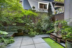 Asian Patio with Imax - Mureilene 3 Piece Round Planter Set, exterior tile floors, Raised beds, Fence, Pathway