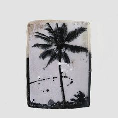 SINGLE PALM #1 45.00 RUSTIC TILE MADE FROM MIXED MEDIUMS