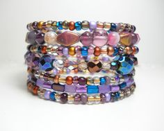 Memory Wire Bracelet Purple and Pink Stacking Beaded Wrap Bracelet