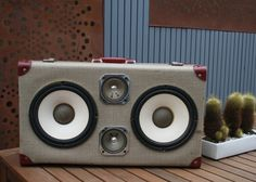 Vintage Australian suitcase, with Bluetooth 4.0, 100wattt Amp, Audio connection for your phone.