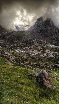 Peak 18 enveloped in the clouds, Chicago Basin, Weminuche Wilderness, Colorado by Aaron Spong -  http://aaron-spong.artistwebsites.com