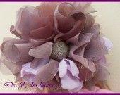 bandeau serre -tête fleur mauve violette