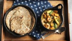 BBC - Food - Recipes : Prawn, sweet potato and lime curry with chilli and black pepper roti bread