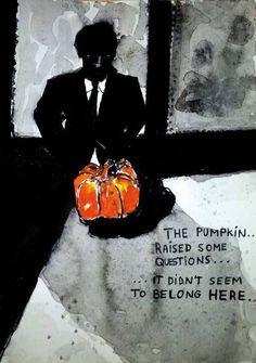 #WorldWatercolorGroup - Sketch by Tim Soekkha of Man With Pumpkin Noir - #doodlewash