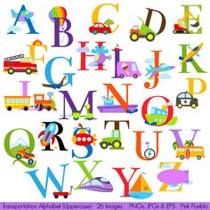 Transportation Alphabet Clipart Clip Art, to make transportation wall decor easily. LOVE IT!