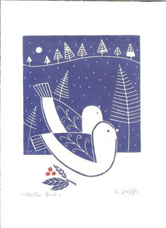 Winter Birds  An Original Linocut Print. Hand printed and hand signed in pencil by myself the artist.  Hand printed in my studio on archival