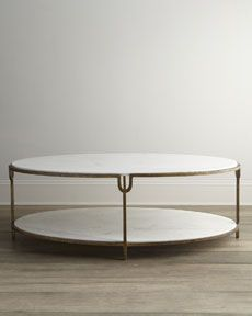 "H6C46 Global Views ""Olivia"" Marble-Top Coffee Table"
