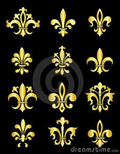 meaning of the fleur de lis | Collection of traditional gold Fleur de Lis designs created in Adobe ...