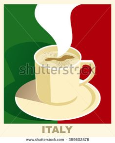 Art deco coffee poster with flag Italy. Coffee vintage concept. National coffee shop, cafe, restaurant, bar. Vector EPS 10.