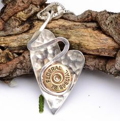 jewelry making shells Heart Necklace Bullet Jewelry Lightening by LamplighterJewelry - Bullet Shell Jewelry, Shotgun Shell Jewelry, Bullet Casing Jewelry, Ammo Jewelry, Brass Jewelry, I Love Jewelry, Jewelry Crafts, Jewelry Art, Jewelry Accessories