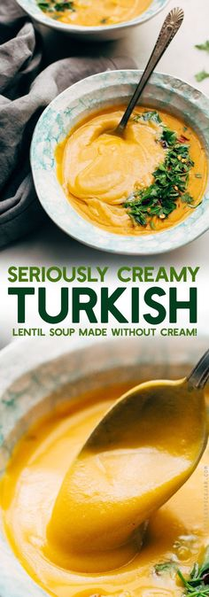 Luxurious Turkish Lentil Soup - 30 minutes to make this creamy soup that contains NO CREAM! Completely vegetarian/vegan friendly and gluten-free! #lentilsoup #splitpeasoup #instantpot #soup