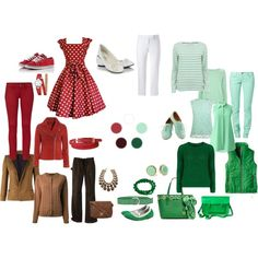 """""""Mom's wardrobe for Irene. Green, white & red."""" by harmoniq on Polyvore"""
