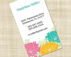 Peonies Garden Mommy Card, Calling Card, Personal Card, and Business Card. $51.75, via Etsy.