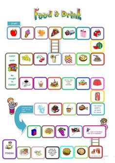 Food and drink board game teaching english english games for kids, learning Games To Learn English, English Games For Kids, Ingles Kids, Speaking Games, Printable Board Games, Hobbies To Try, Board Games For Kids, Worksheets For Kids, Printable Worksheets