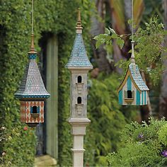 eclectic Victorian birdhouse collection