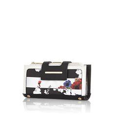 Navy floral stripe print purse