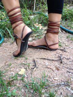 Sandalias de rarámuri neumático suela cuero de mula por Tehuas