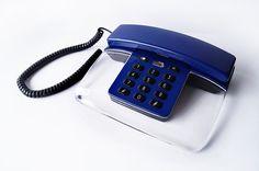 Retro Telephone Clear Transparent Acrylic Royal Blue Phone Lucite Push Button Handset Device Office Teal Indigo Black 80s Vintage – Sophistique Studio