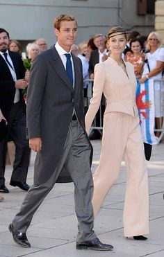Pierre Casiraghi and his Freundin Beatrice Borromeo attending the royal wedding in Luxembourg, Saturday, 09/21/2013 - I love her suit!