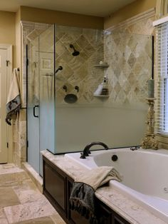 Traditional Bathroom Travertine Tiled Bathrooms Design,