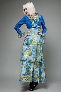 vintage 70s maxi dress peasant prairie blue by shoprabbithole