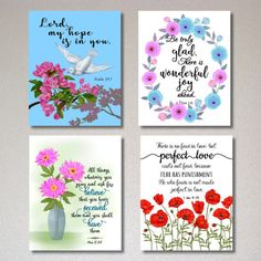 $1.00 only for a set of 4 prints (8 in x 10 in) --Bible verse printable, scripture prints, Christian wall art, Biblical quotes, Psalm 39:7, 1 John 4-18, Mark 11-24, 1 Peter 1-6, love quotes