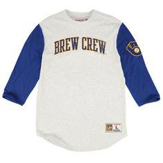 be82f95ae5e Milwaukee Brewers Mitchell   Ness Extra Out Three-Quarter Sleeve Raglan T- Shirt - Cream Royal