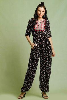 cbc98397ce85 Buy Vajor Black   Red Printed Tassel Jumpsuit online