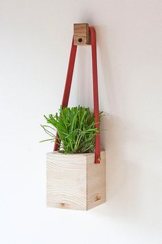 Wood and Leather Hanging Wall Planter by FactoryTwentyOne on Etsy