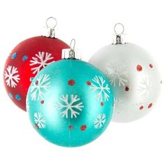 "Let it snow, let it snow, let it snow! Get into the spirit of the season by trimming your tree with the season's best! Aqua, Red & White Ball Ornaments with Snowflakes feature a matte finish and white glitter snowflakes with red and blue glitter dots. These gorgeous ornaments are lightweight, constructed of plastic, and shatter proof. Make your Christmas merry and bright!    	Dimensions:    	  		Width: 2 1/2""      	Each box contains 6 ornaments."