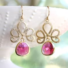 Lotus Ruby Gold Earrings