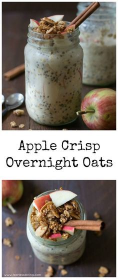 1/2 cup gluten free rolled oats 1 tablespoon chia seeds 1/2 teaspoon cinnamon 3/4  cup almond milk (or other milk) 2 tablespoons maple syrup 3 tablespoons granola 1/4 cup chopped apple  INSTRUCTIONS Take a mason jar and pour in all of the dry ingredients. Add the apple and wet ingredients. Put the lid on and screw it tight. Shake the mason jar until all of the ingredients are blended. Put into the refrigerator and allow to sit overnight. The next morning, remove the lid, pour some
