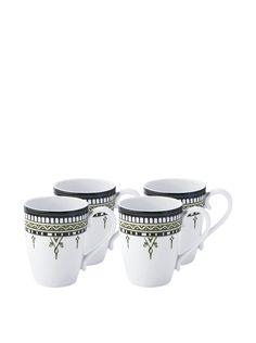 Padma Collection Minakari 14-Oz. Mugs, Sage/Teal, Set of 4 at MYHABIT