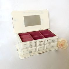 White Jewelry Box small shabby chic distressed repurposed cottage chic box pink Velvet interior by EllasAtticVintage on Etsy