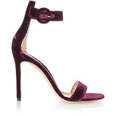 Gianvito Rossi Velvet sandals ($790) ❤ liked on Polyvore featuring shoes, sandals, heels, gianvito rossi, обувь, red, red shoes, red shiny shoes, velvet shoes e shiny shoes
