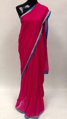 Georgette Saree with Decorative Border- Pink