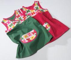 einfaches Kleid mit Schrägband eingefasst. Kostenloser Schnitt inkl. Videoanleitung.
