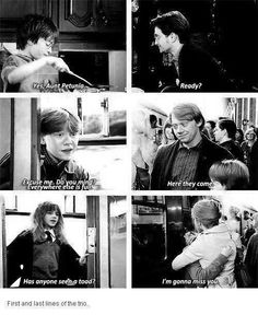 First and last movie lines of the trio. Aww I need to do a harry potter marathon! Harry Potter Welt, Harry Potter Thema, Harry Potter Love, Harry Potter Fandom, Harry Potter Memes, James Potter, Slytherin, Hogwarts, Scorpius And Rose