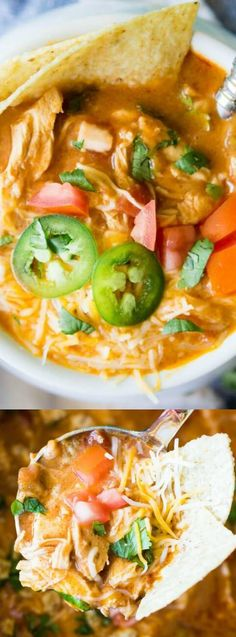 This Slow Cooker King Ranch Chicken Soup from House of Yumm is so easy to make and tastes just like the King Ranch Chicken Casserole that you love! It is loaded with cheese, juicy chunks of chicken, and has tons of delicious flavor!
