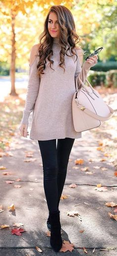 nude and black fall outfit