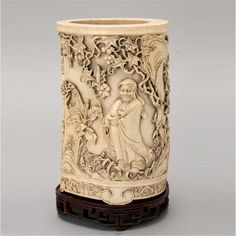 19th Century Fine Ivory Calligraphy Brush Pot