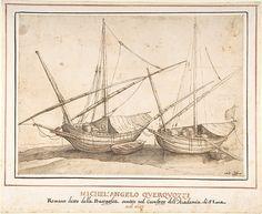 Four Boats,  attributed to Michelangelo Cerquozzi (Michelangelo delle Battaglie) (Italian, Rome 1602–1660 Rome) Date: 1602–60
