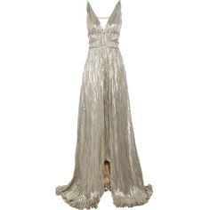 Oscar de la Renta Pleated Lamé Gown ❤ liked on Polyvore featuring dresses, gowns, long dresses, oscar de la renta, vestidos, lame dress, pleated evening gown, brown pleated dress and oscar de la renta evening gowns