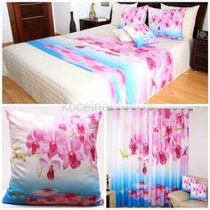 Różowo niebieski komplet do sypialni w kwiaty